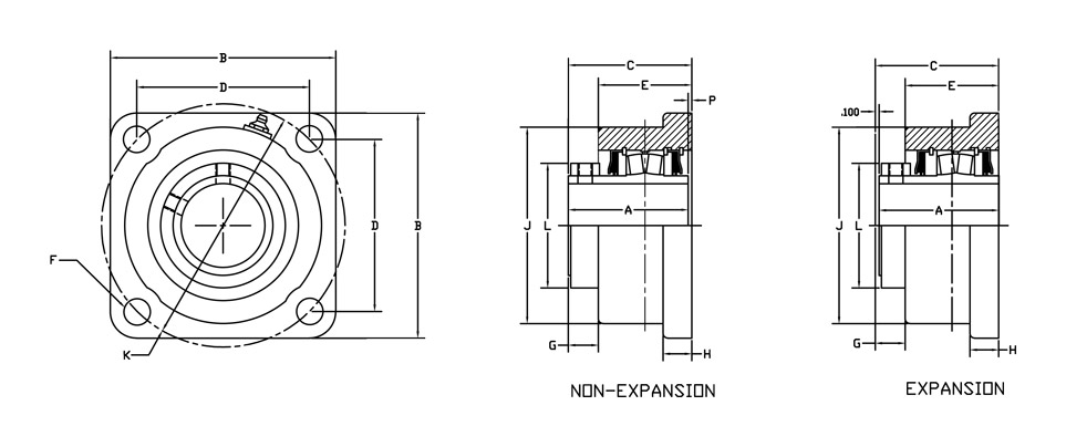 r2000 bearing square flange diagram