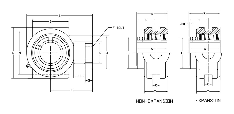 r2000 bearing wide slot take-up diagram
